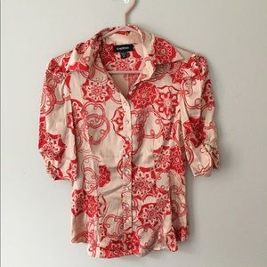 - Bebe floral silk button down blouse
